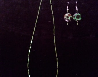 green and black necklace and earrings set