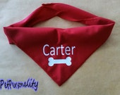 Personalised Dog Bandana with Bone Print , Choice of Colours and Sizes