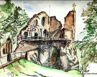 Knaresborough Castle, Yorkshire. - Giclee Print of Original Watercolour and Pen Drawing by English Artist Claire Strickland