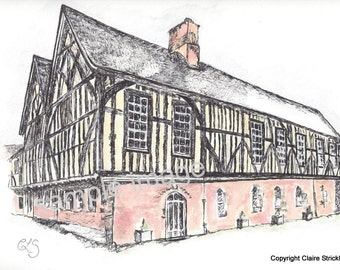 The Merchant Adventurers' Hall, York. - Giclee Print of Original Wash and Pen Drawing by English Artist Claire Strickland
