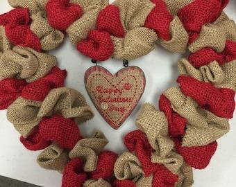 Burlap heart valentines wreath