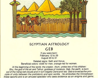 Vintage Egyptian Astrology postcard: Geb; from Zodiac Unlimited