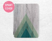 Geometric wood print Smart Cover for iPad Mini, iPad mini 2 retina, iPad Air, iPad Air 2, green triangle tablet Smart cover with back case