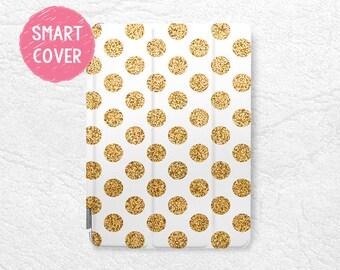 "Gold Glitter print Polka dots Smart Cover for iPad Mini, iPad mini 2 retina, iPad Air, iPad Air 2, iPad Pro 12.9"", New iPad 9.7"" 2017 -P6"