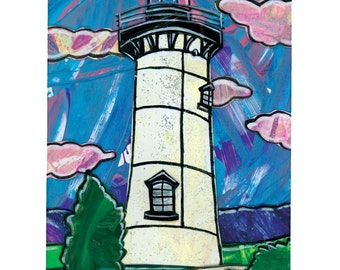 Martha's Vineyard Lighthouse Print.  East Chop Light. 5x7, matted to 8x10.