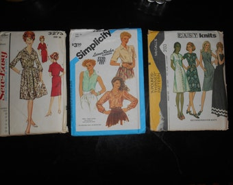 Set of 3 vintage patterns from the 1960s and 1970s dresses and blouses size 20