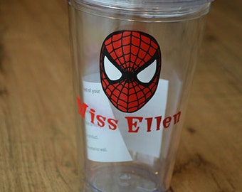 Personalized Spiderman Acrylic Tumbler- Super hero cup with straw