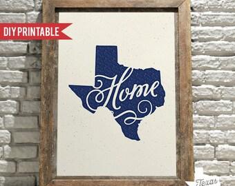 Home Texas DIY Printable Calligraphy Script Art