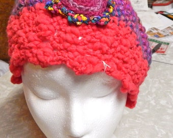 Vibrant Purple and Pink Crocheted Hat