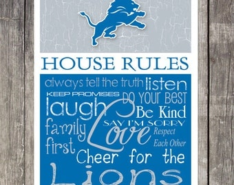 Detroit Lions House Rules 4x4.1/2 Fridge Magnet