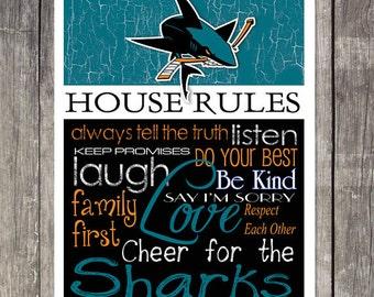 San Jose Sharks House Rules 4 x 4. 1/2 Fridge Magnet