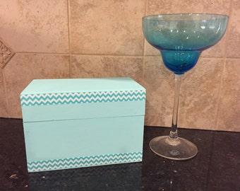 Aqua Green and Cheveron Recipe/keepsake box