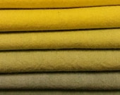 "Hand dyed cotton fat quarters for quilting, gradation of yellow to blue, ""Daffodily Sky"""