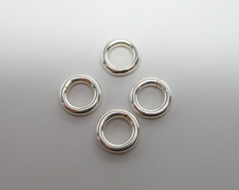925 solid Sterling silver jump rings closed. 9 mm. PRICE for 2 Jump rings. THICK. Wholesale. JR42