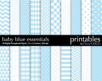 Digital Paper Sky Blue, Baby Blue Geometric Patterns, Light Blue Digital Scrapbooking Paper, Digital Paper Pack, Digital Scrapbook Paper DIY