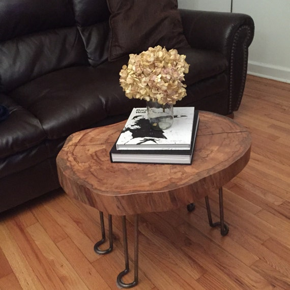 Round Wood Hairpin Coffee Table: Items Similar To Small Wood Slab Coffee Table W/ Steel