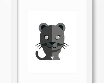 Panther Print, Panther Art, Nursery Art, Nursery Print, Nursery Panther Print, Nursery Panther Art, Kids Cat Art, Kids Cat Print, Cute Cats