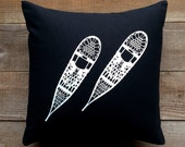 Organic Cotton Throw Pillow Screen Printed Snowshoes