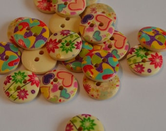 Printed wooden 15mm buttons