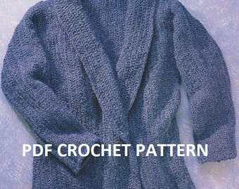 Ladies' Belted Sweater, Jacket, Vintage 1980s, Instant Download, Crochet PDF Pattern