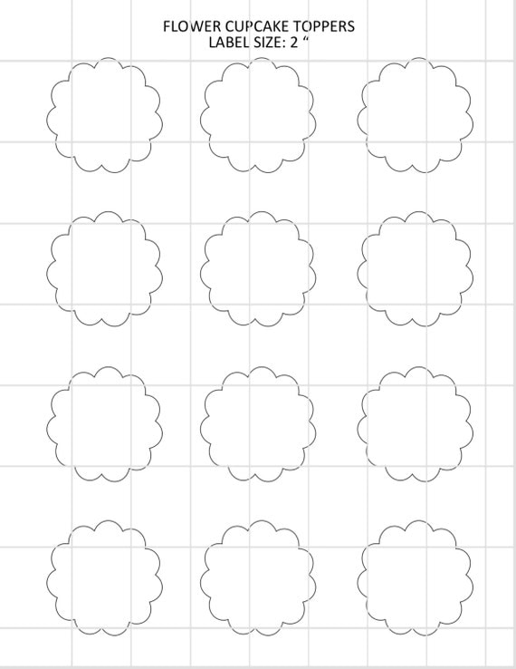 flower cupcake toppers template by alldigitalcalestore on etsy. Black Bedroom Furniture Sets. Home Design Ideas