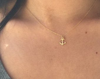 FREE SHIPPING Gold Anchor Necklace 14k gold filled small tiny minimal gift