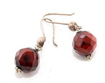 Sterling silver earrings with carnelian 7354