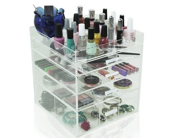 Acrylic Makeup Organizer, 4 Drawers, Clear, Cosmetic Cube Case, Box w/ Dividers & Top Tray