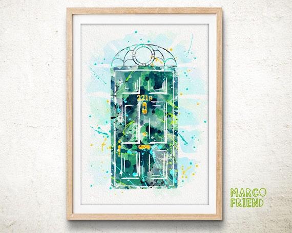 Sherlock Holmes 221B Baker Street - Watercolor, Art Print, Home Wall decor, Watercolor Print, Sherlock Holmes Poster