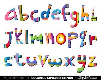 Scrapbooking Alphabet clipart color alphabet  Digital alphabet letters color clipart Digital letters Clip art alphabet Clip art