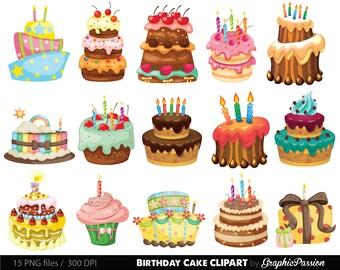 Birthday Cake Clipart. Cake Illustration. Birthday Cake Digital Images. Colorful Birthday Cake Clipart