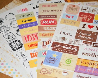 Retro Paper Sticker Set - 6 Sheets-Line Tape,Message,Stamp,Graffit,Diary Stickers, Journal Stickers