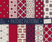 "Oriental digital paper : ""Patches Patterns""  blue and red digital paper, oriental patterns, moroccan digital patterns, digital scrapbooking"