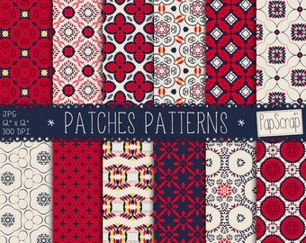 "Oriental digital paper : ""Patches Patterns""  blue and red digital paper, oriental patterns, moroccan digital patterns, digital scrapbooking"