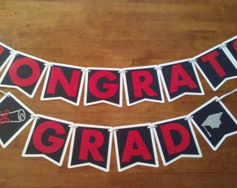 Congrats Grad Graduation Banner - party supplies - class of 2018 - graduation decorations - graduation party - grad deco