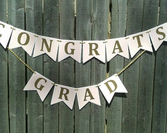 Pink and Gold Graduation Banner - party supplies - grad - hanging decorations - garland - congrats grad