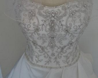 BRIDGETTE. Off White, luminous Taffets, size 10, Rhynestone beaded Bodice, Wedding Dress