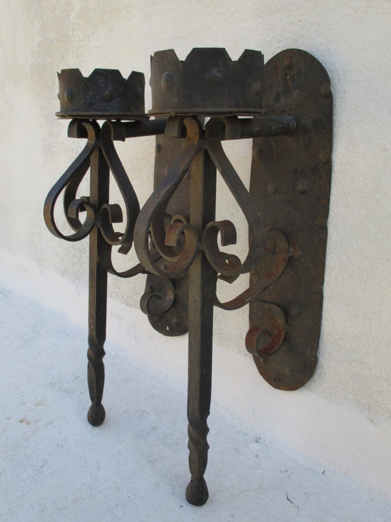 Pair Of Wrought Iron Medieval Gothic Torch Candle Holder Wall