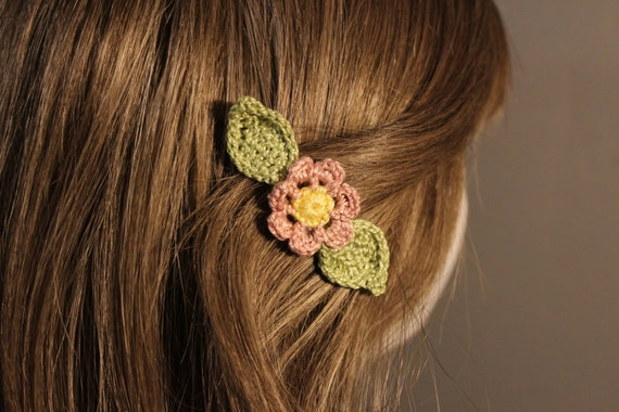 Crochet Wedding Hairstyles : Wedding Hair Clip Set Hand Crocheted - Wedding Hair Accessory - Spring ...