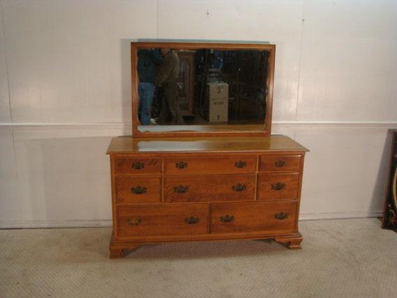 Ethan Allen Solid Maple Dresser With Mirror
