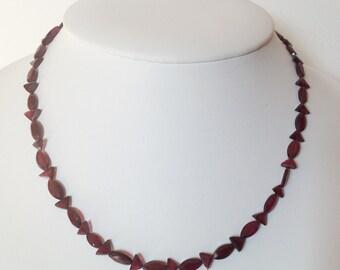 Natural Rhodolite Garnet Necklace with 14 k Gold over silver