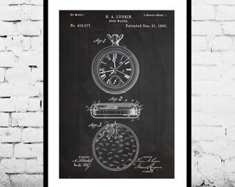 Vintage Stop Watch Patent, Vintage Stop Watch Poster, Vintage Stop Watch Print, Vintage Stop Watch Art
