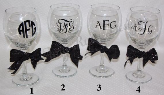 Four monogrammed 20oz red wine glasses with vinyl lettering for Where to buy vinyl letters for wine glasses