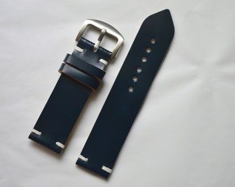 Horween Navy Blue Shell Cordovan watch strap 16mm 18mm, 19mm, 20mm 21mm 22mm custom