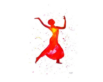 Colorful Indian Dance art print, Print from original painting, Modern Art, Wall Decor, Home Decor, Indian Painting, Indian Classical dance