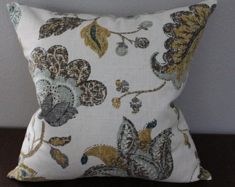 20x20 Cover pillow, Floral pillow case, Throw pillow , Mustered Yellow, Brown, Teal, Grey/Taupe