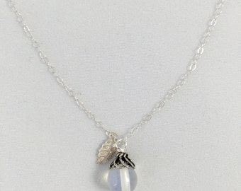 Moonstone necklace. Sterling silver with small leaf.