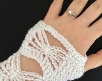 Bridal Fingerless Gloves - Butterfly Gloves - Bright White Gloves - Bright White Bridal Gloves