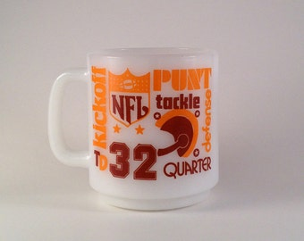 Vintage Coffee Mug - NFL Football Glasbake Milk Glass