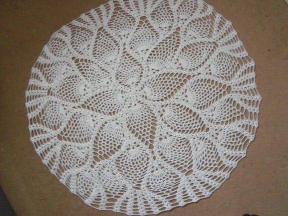 Crochet Pineapple Design Circular/Round White Baby